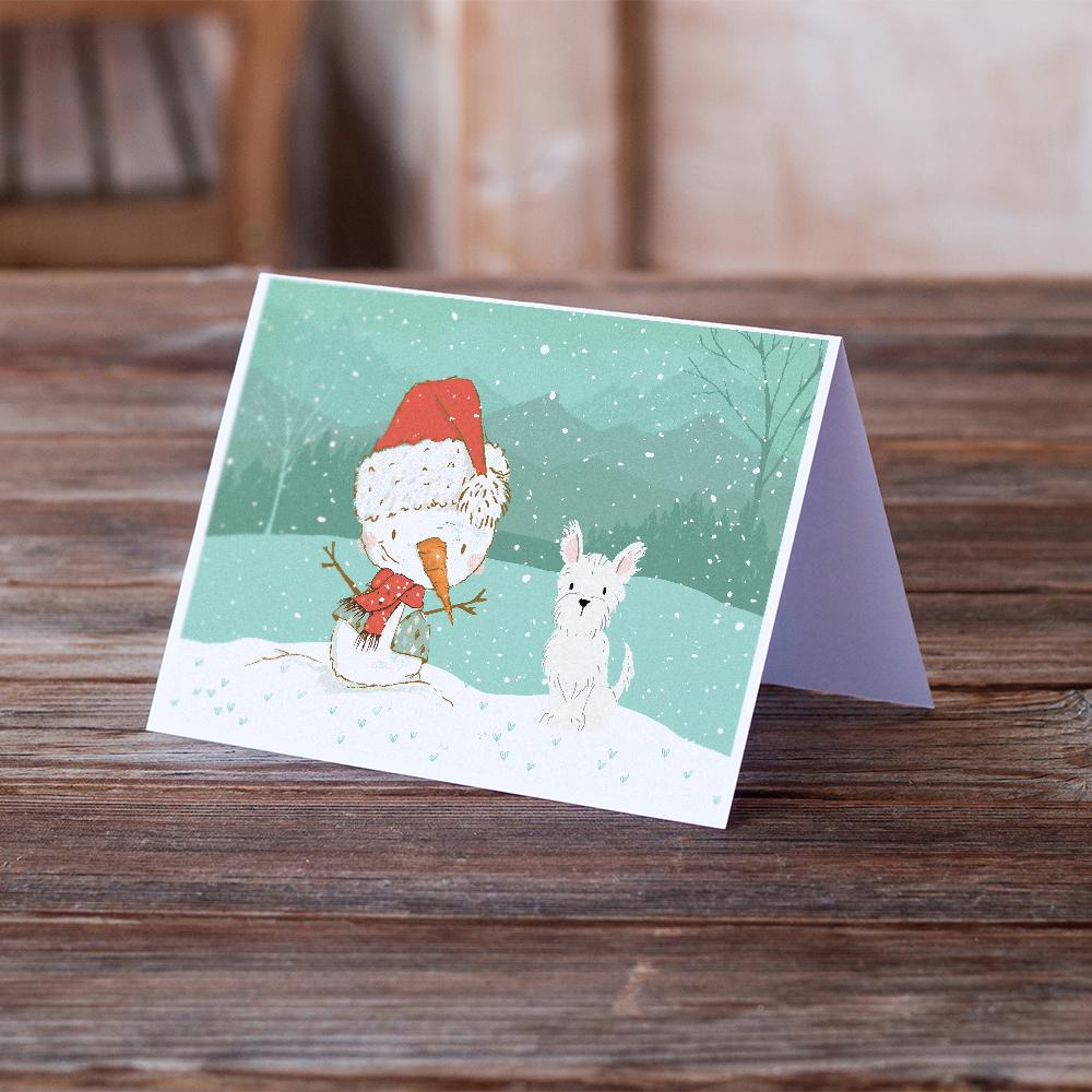 Buy this Westie Terrier Snowman Christmas Greeting Cards and Envelopes Pack of 8