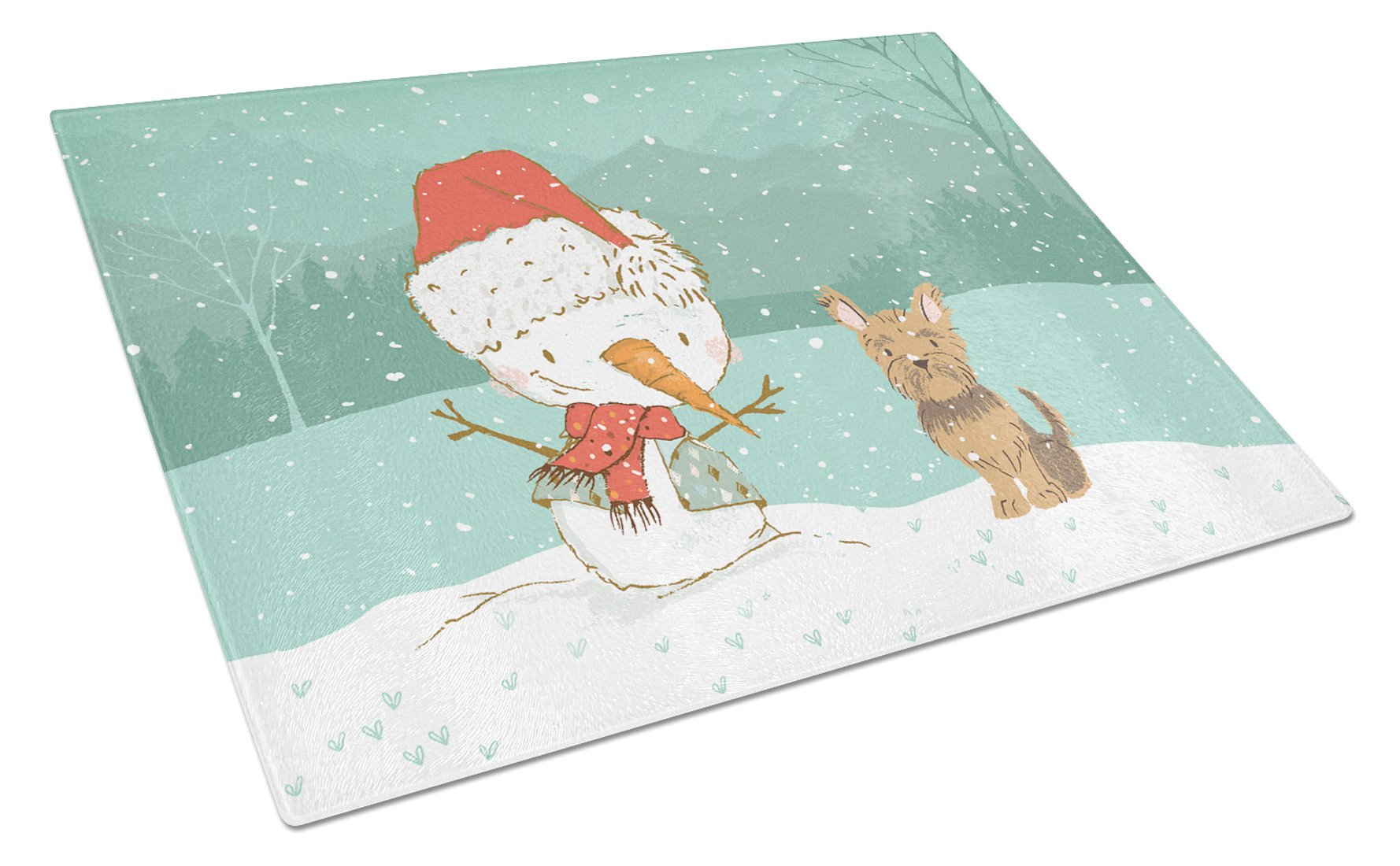 Yorkie Cropped Ears Snowman Christmas Glass Cutting Board Large CK2098LCB by Caroline's Treasures