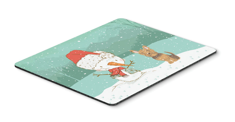 Buy this Yorkie Cropped Ears Snowman Christmas Mouse Pad, Hot Pad or Trivet CK2098MP