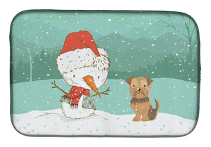 Buy this Yorkie Natural Ears Snowman Christmas Dish Drying Mat CK2099DDM