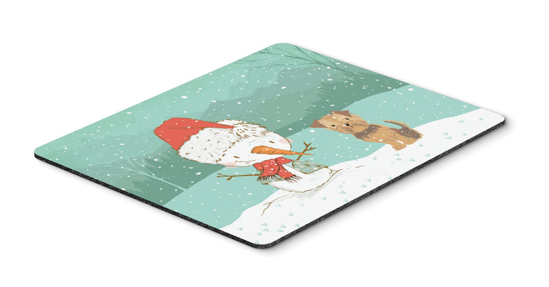 Buy this Yorkie Natural Ears Snowman Christmas Mouse Pad, Hot Pad or Trivet CK2099MP