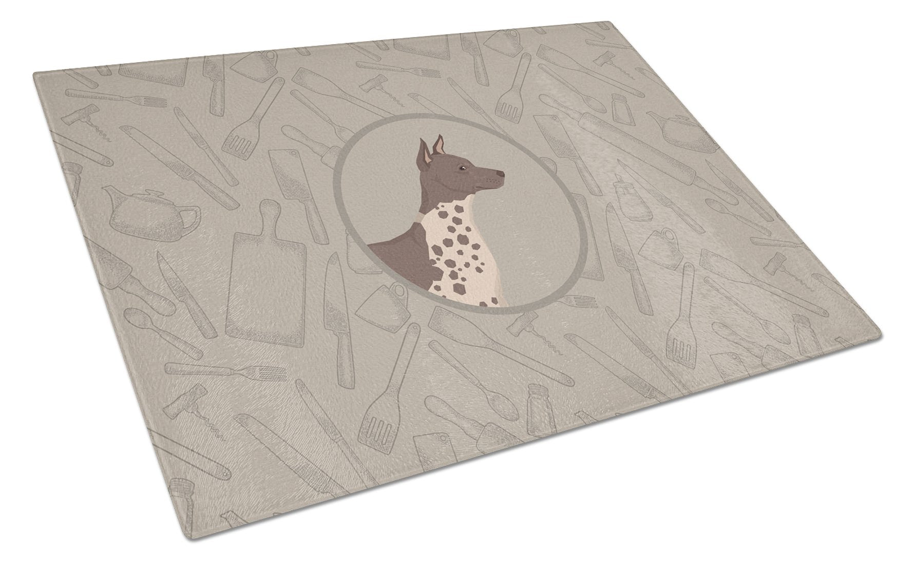 American Hairless Terrier In the Kitchen Glass Cutting Board Large CK2161LCB by Caroline's Treasures
