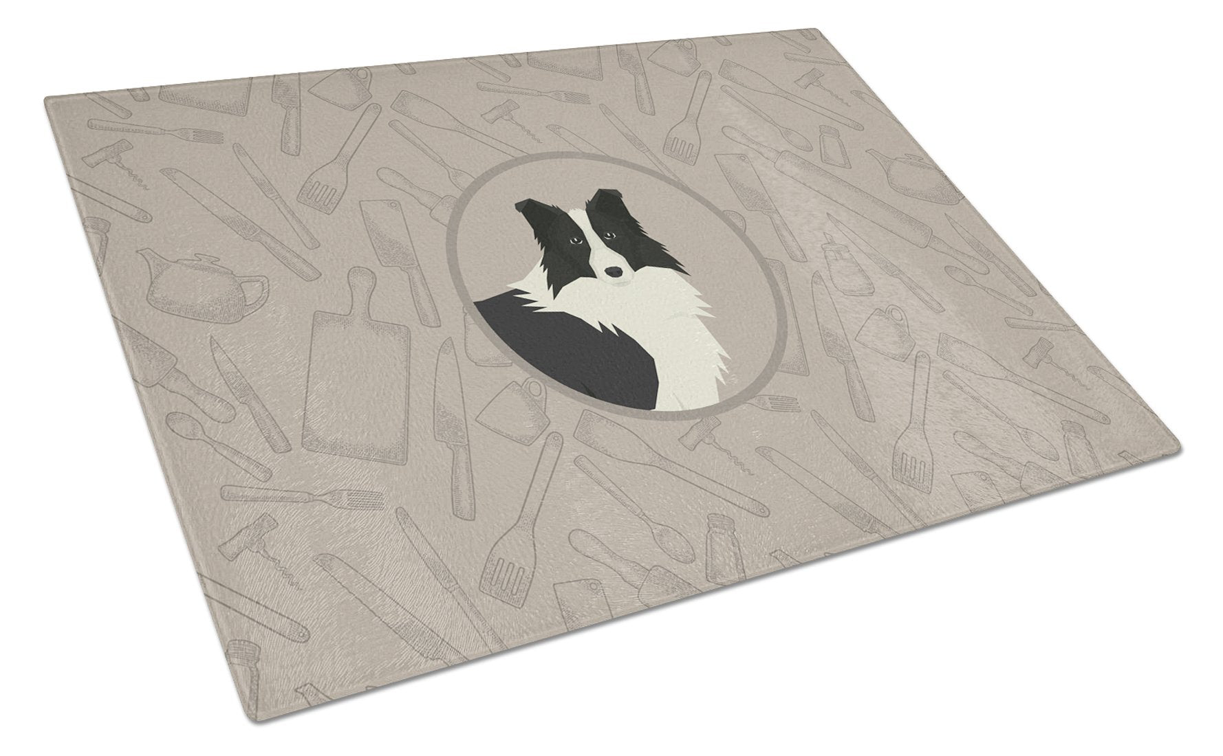 Border Collie In the Kitchen Glass Cutting Board Large CK2169LCB by Caroline's Treasures