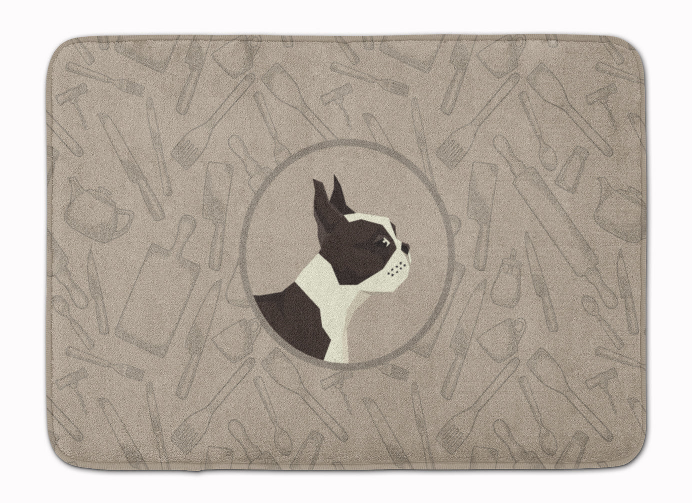 Boston Terrier In the Kitchen Machine Washable Memory Foam Mat CK2172RUG by Caroline's Treasures
