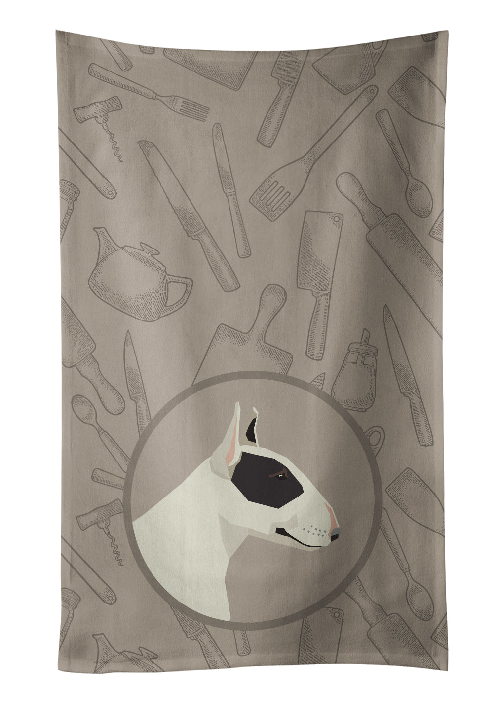 Buy this Black and White Bull Terrier In the Kitchen Kitchen Towel CK2174KTWL