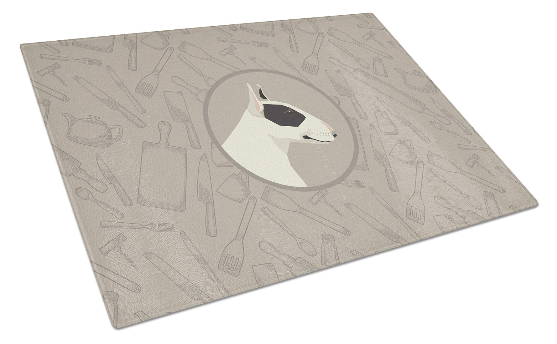 Buy this Black and White Bull Terrier In the Kitchen Glass Cutting Board Large CK2174LCB