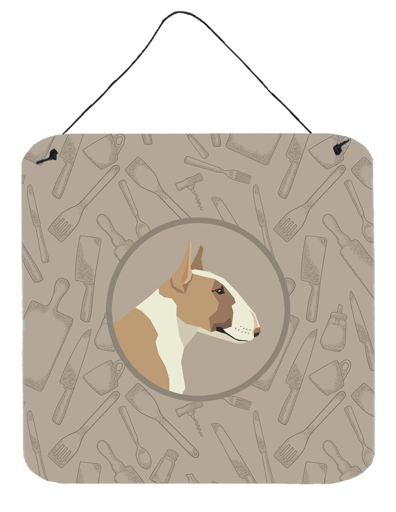 Buy this Fawn and White Bull Terrier In the Kitchen Wall or Door Hanging Prints CK2175DS66