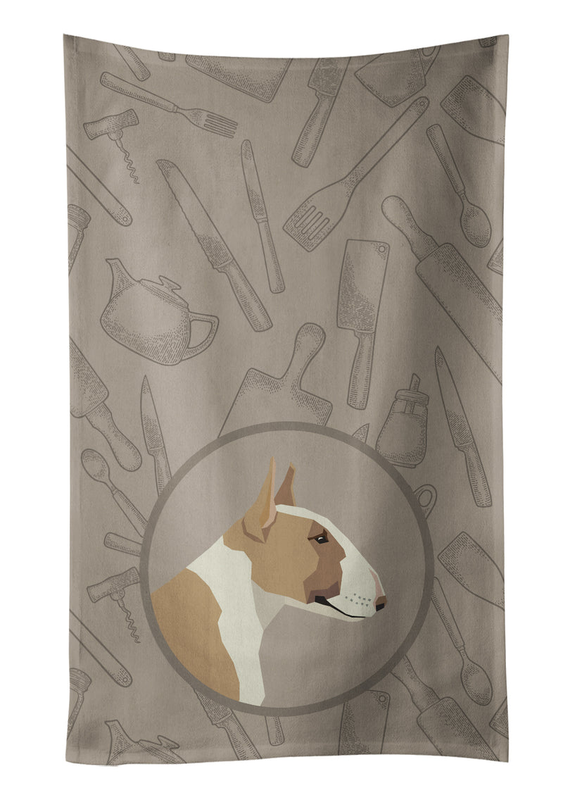 Buy this Fawn and White Bull Terrier In the Kitchen Kitchen Towel CK2175KTWL