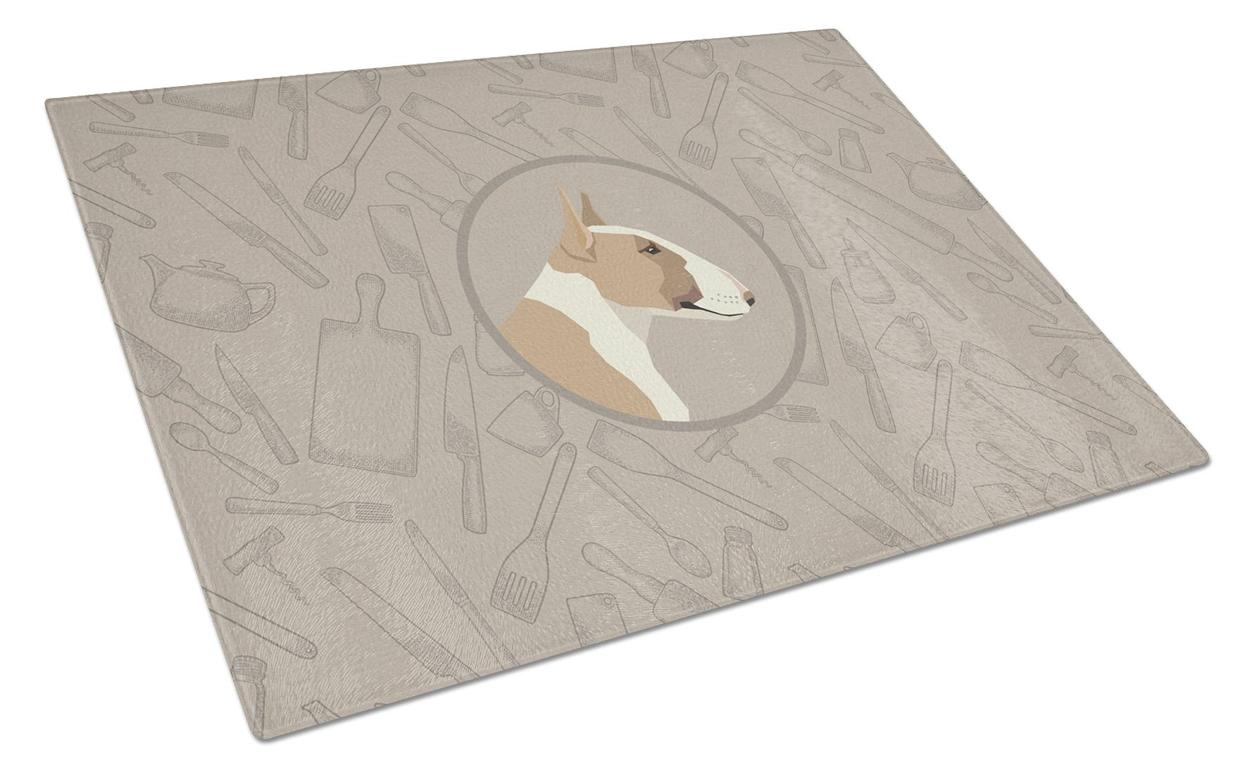 Buy this Fawn and White Bull Terrier In the Kitchen Glass Cutting Board Large CK2175LCB
