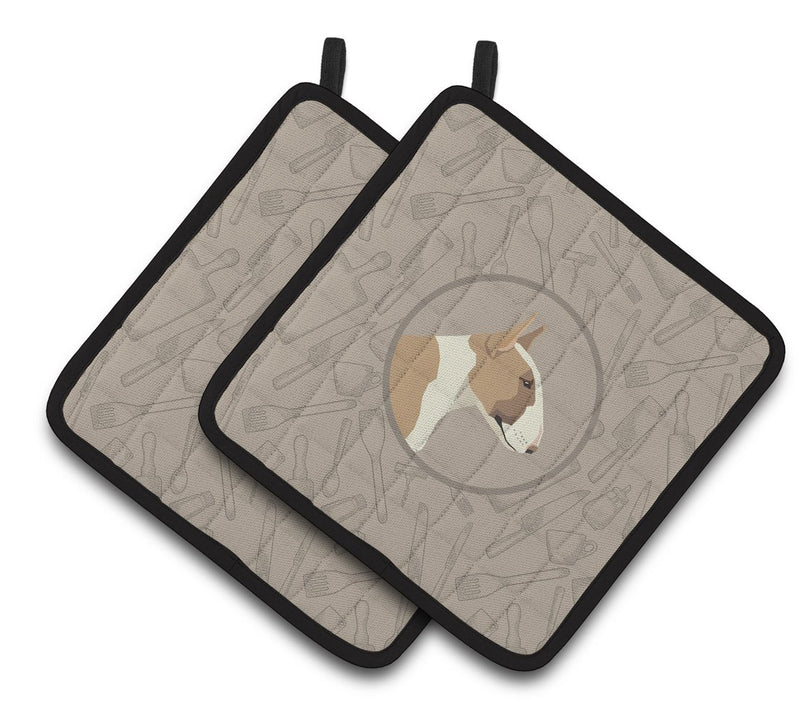 Buy this Fawn and White Bull Terrier In the Kitchen Pair of Pot Holders CK2175PTHD