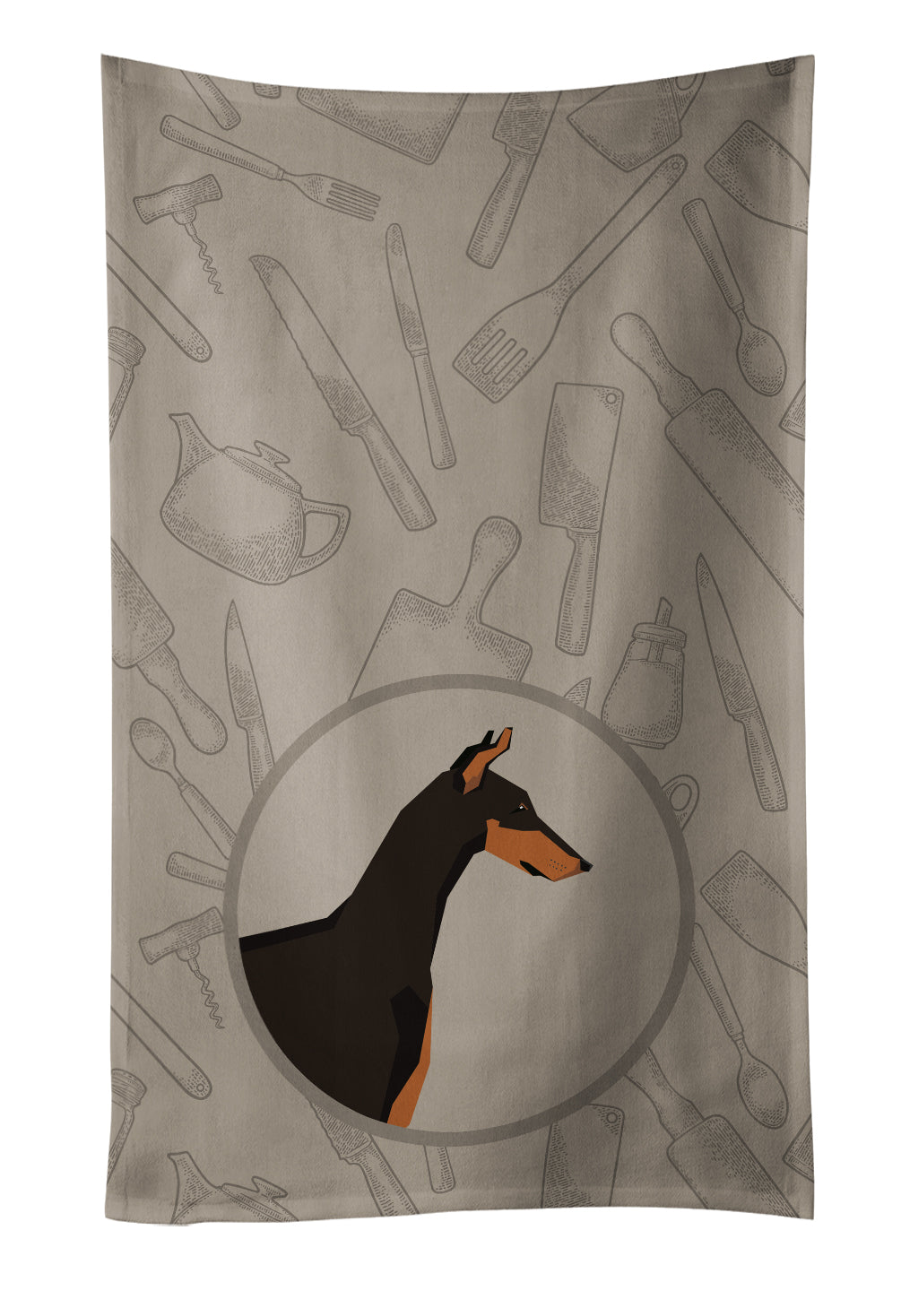 Buy this Doberman Pinscher In the Kitchen Kitchen Towel CK2182KTWL