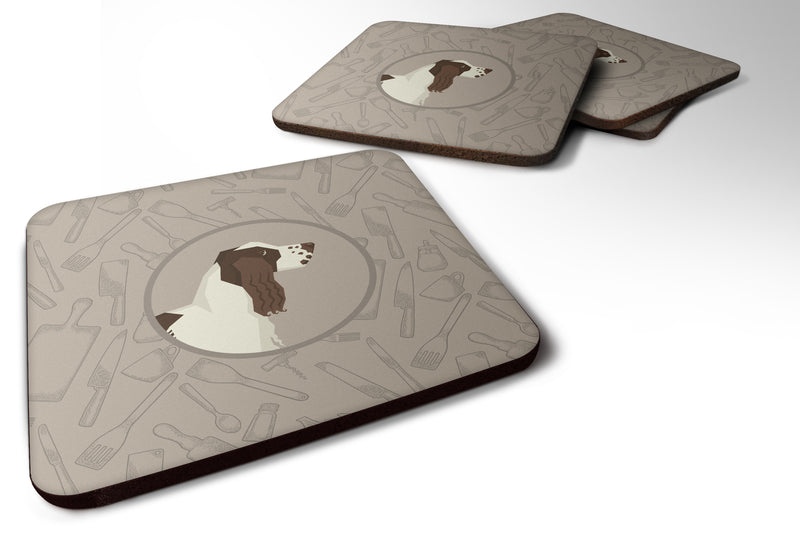 Buy this English Springer Spaniel In the Kitchen Foam Coaster Set of 4 CK2184FC