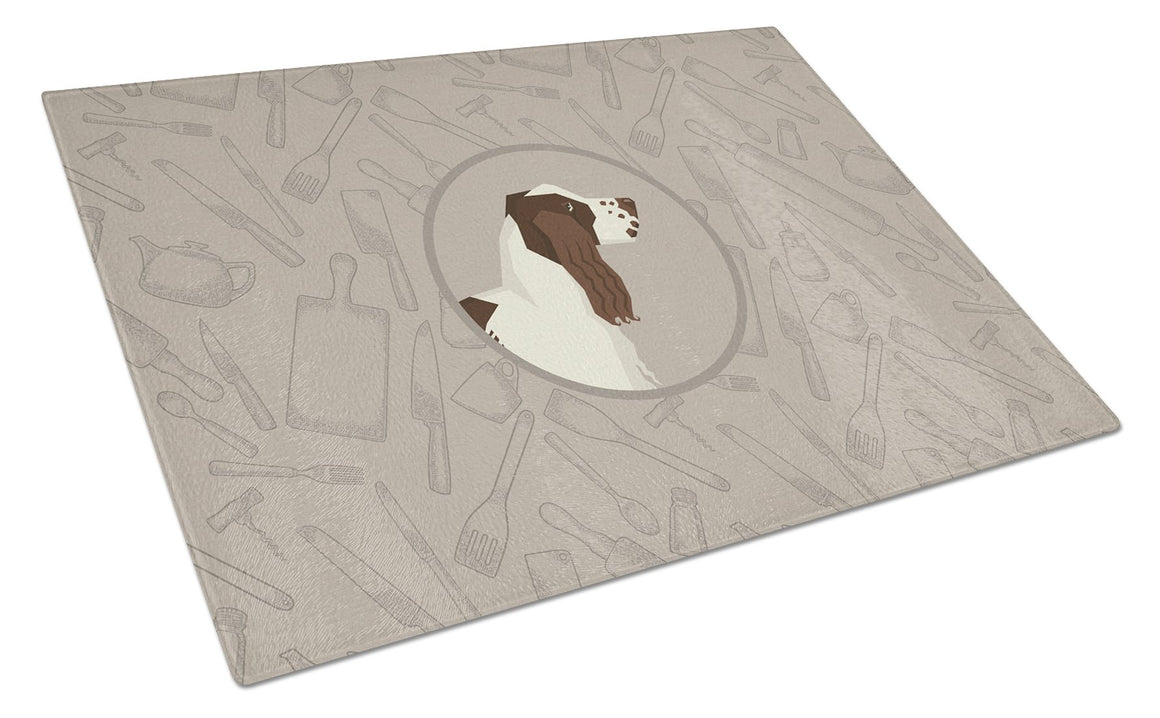 Buy this English Springer Spaniel In the Kitchen Glass Cutting Board Large CK2184LCB