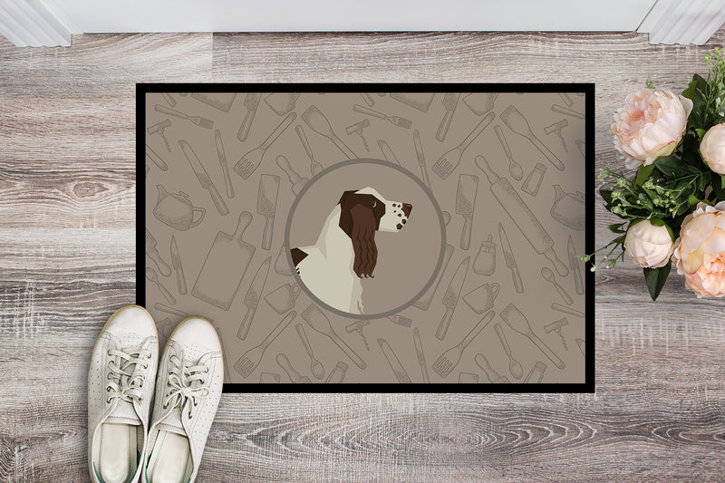 Buy this English Springer Spaniel In the Kitchen Indoor or Outdoor Mat 18x27 CK2184MAT