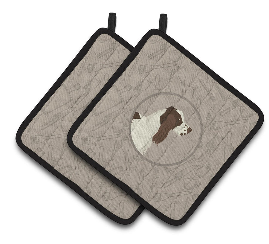 Buy this English Springer Spaniel In the Kitchen Pair of Pot Holders CK2184PTHD