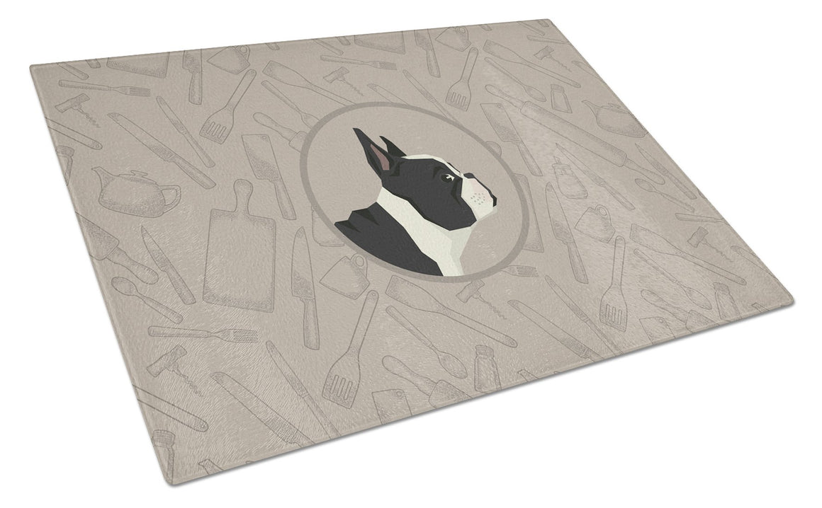 Buy this French Bulldog In the Kitchen Glass Cutting Board Large CK2186LCB