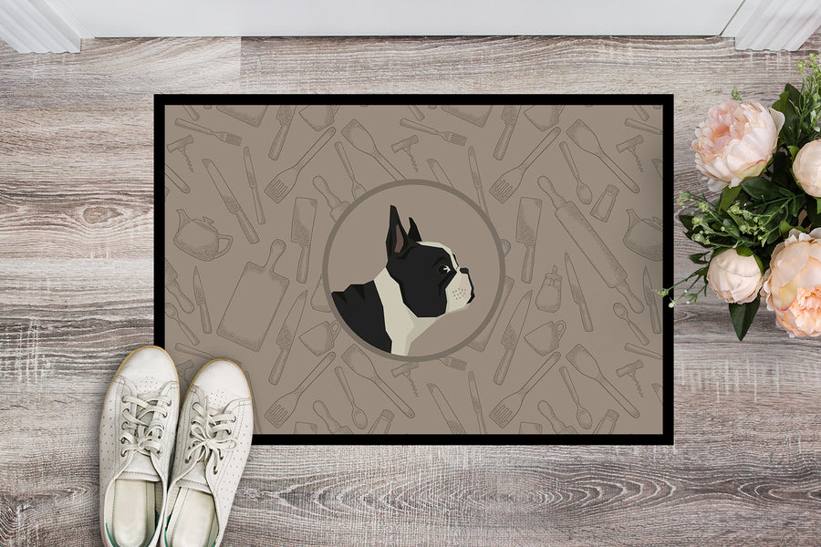 Buy this French Bulldog In the Kitchen Indoor or Outdoor Mat 18x27 CK2186MAT