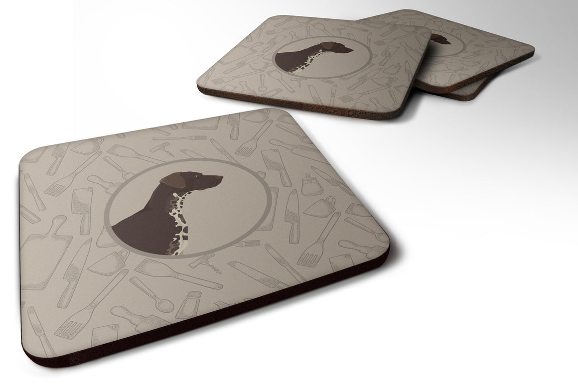 Buy this German Shorthaired Pointer In the Kitchen Foam Coaster Set of 4 CK2188FC