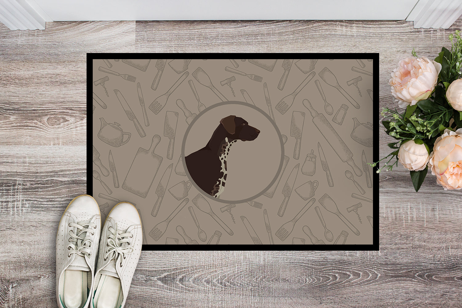 German Shorthaired Pointer In the Kitchen Indoor or Outdoor Mat 18x27 CK2188MAT by Caroline's Treasures