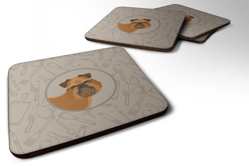 Buy this Brussels Griffon In the Kitchen Foam Coaster Set of 4 CK2191FC