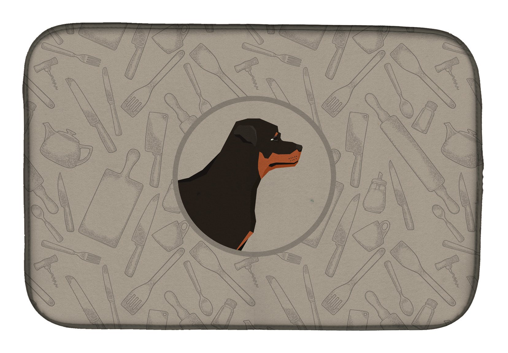 Buy this Rottweiler In the Kitchen Dish Drying Mat CK2205DDM