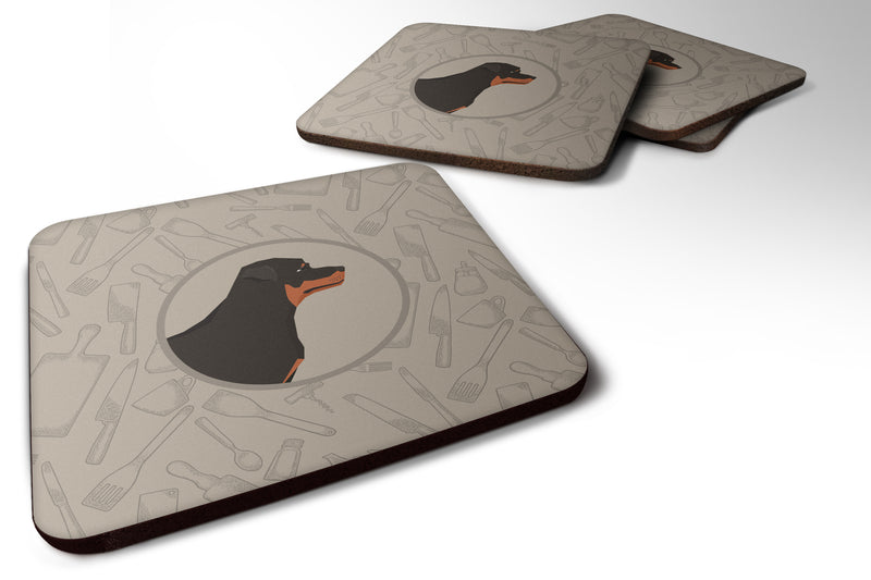 Buy this Rottweiler In the Kitchen Foam Coaster Set of 4 CK2205FC