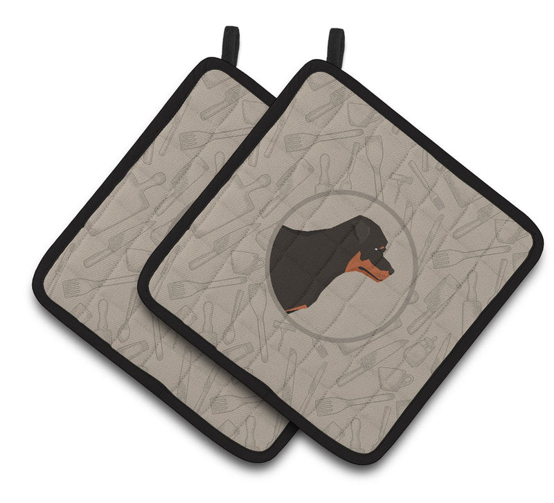 Buy this Rottweiler In the Kitchen Pair of Pot Holders CK2205PTHD