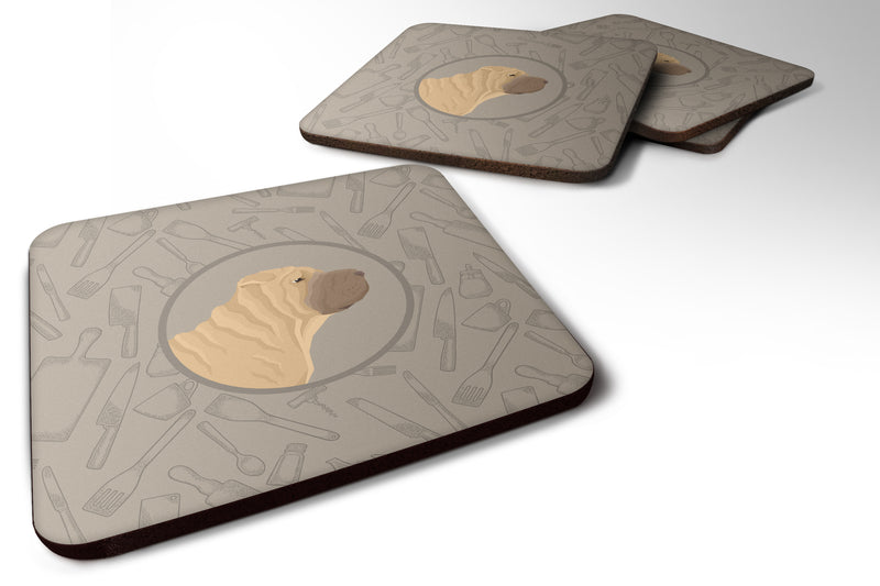 Buy this Shar Pei In the Kitchen Foam Coaster Set of 4 CK2209FC