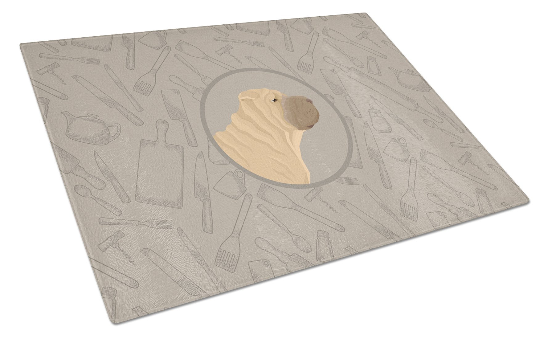 Buy this Shar Pei In the Kitchen Glass Cutting Board Large CK2209LCB