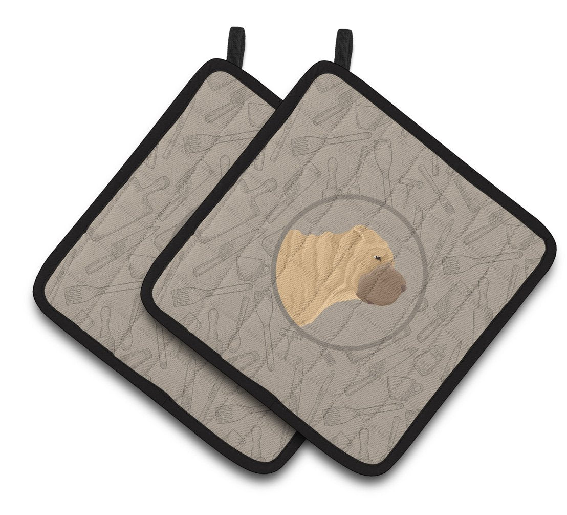 Buy this Shar Pei In the Kitchen Pair of Pot Holders CK2209PTHD