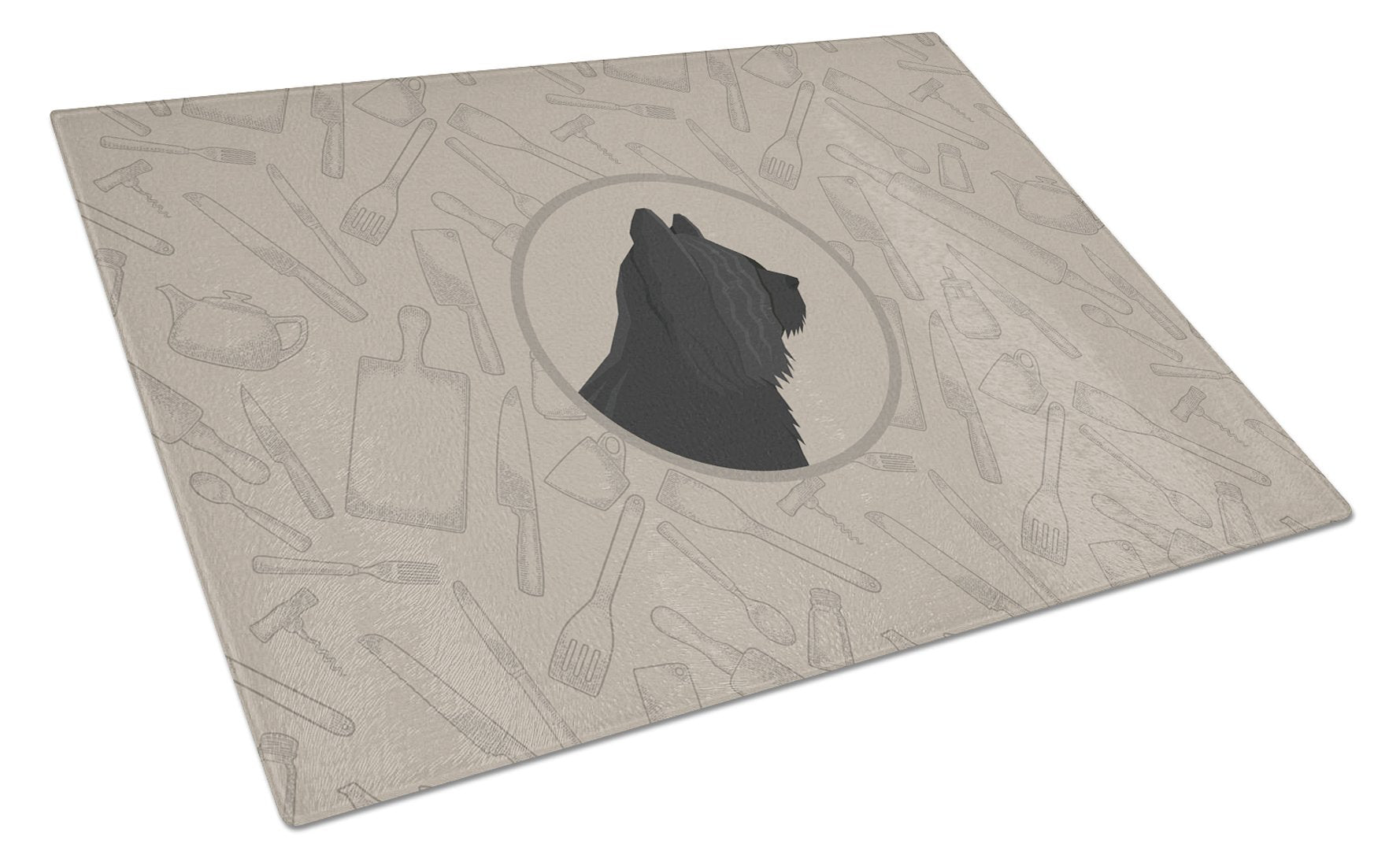 Skye Terrier In the Kitchen Glass Cutting Board Large CK2211LCB by Caroline's Treasures