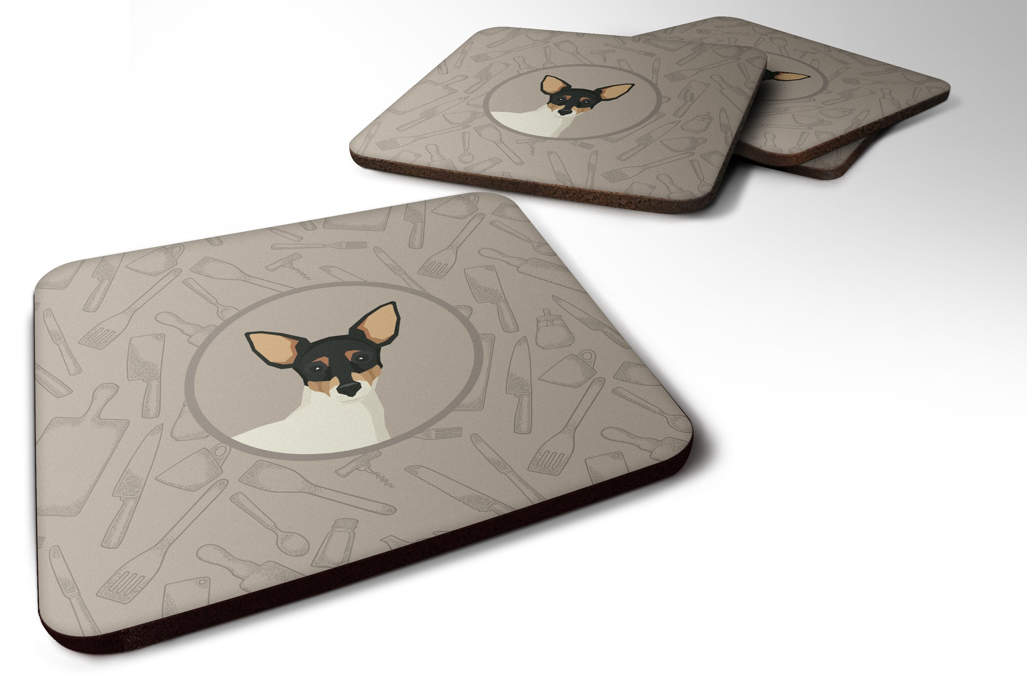 Toy Fox Terrier In the Kitchen Foam Coaster Set of 4 CK2214FC by Caroline's Treasures