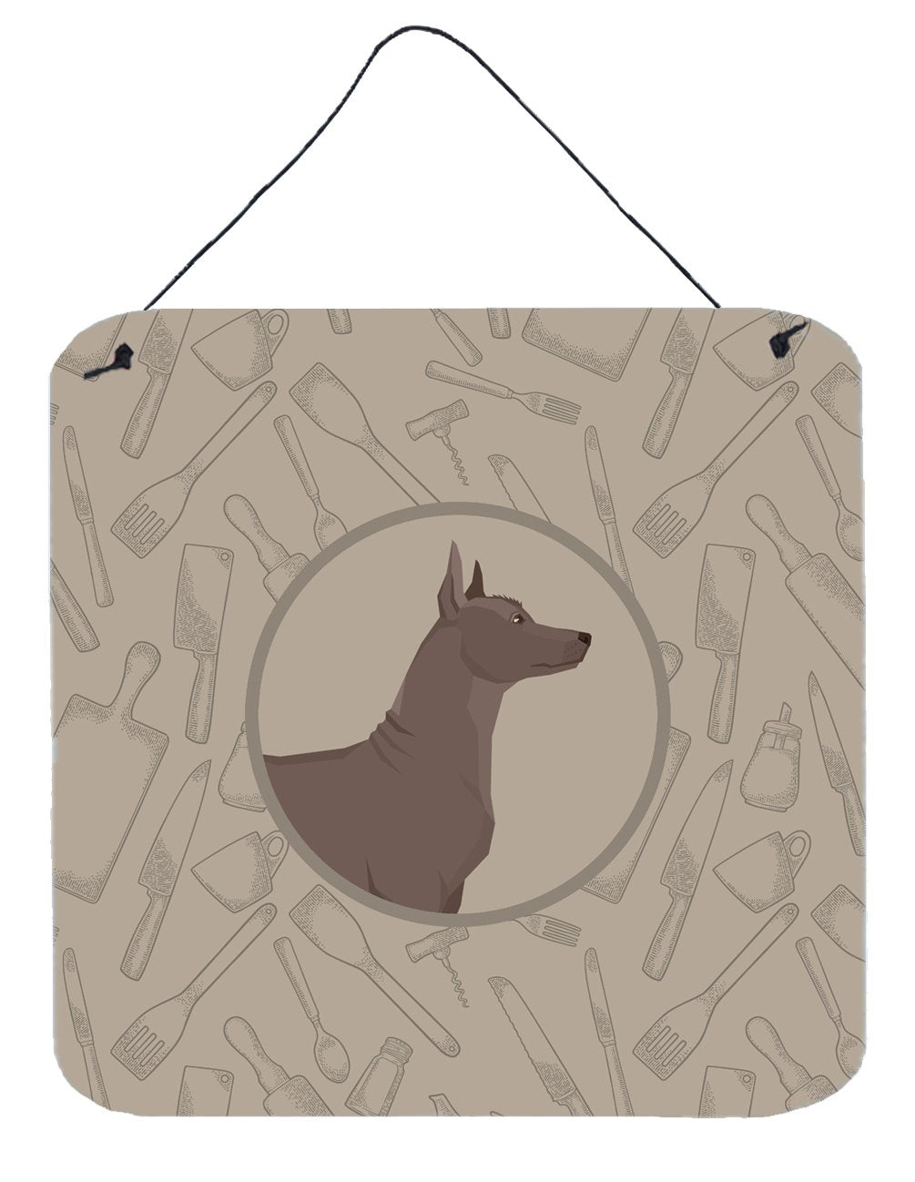 Buy this Mexican Hairless Dog Xolo In the Kitchen Wall or Door Hanging Prints CK2217DS66