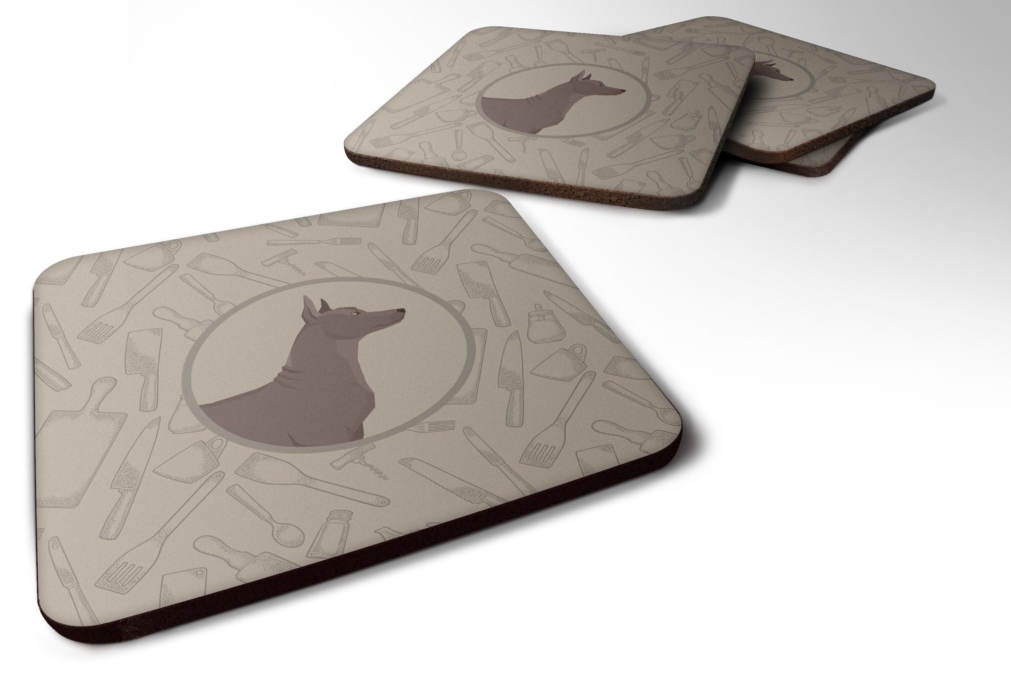 Mexican Hairless Dog Xolo In the Kitchen Foam Coaster Set of 4 CK2217FC by Caroline's Treasures