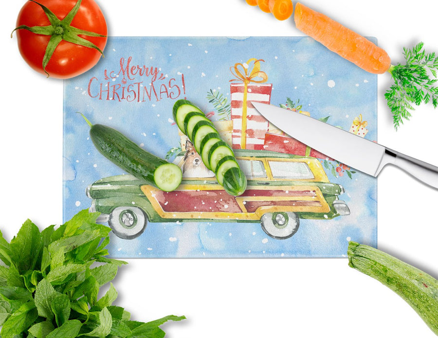 Buy this Merry Christmas Sheltie Glass Cutting Board Large CK2421LCB