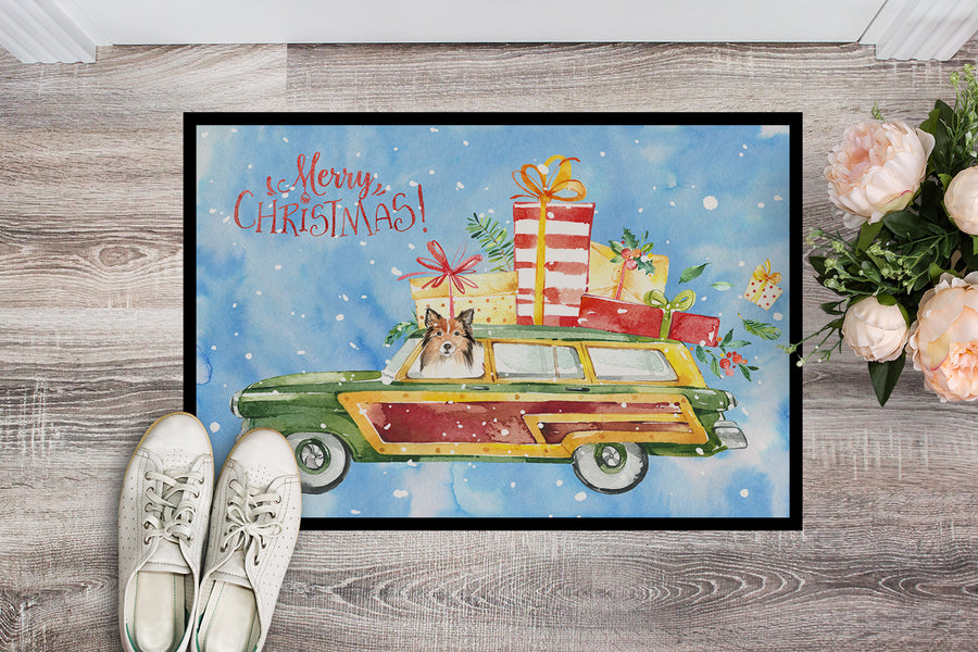 Buy this Merry Christmas Sheltie Indoor or Outdoor Mat 18x27 CK2421MAT