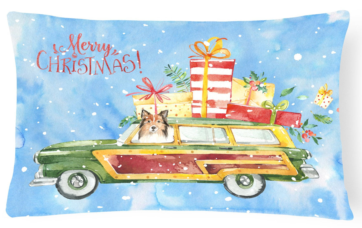 Buy this Merry Christmas Sheltie Canvas Fabric Decorative Pillow CK2421PW1216