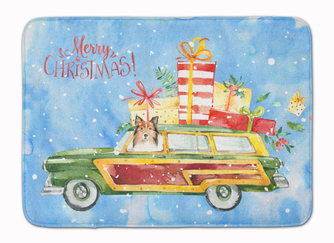 Buy this Merry Christmas Sheltie Machine Washable Memory Foam Mat CK2421RUG