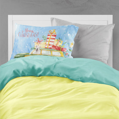 Merry Christmas White Staffordshire Bull Terrier Fabric Standard Pillowcase CK2433PILLOWCASE