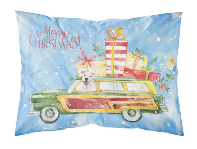 Buy this Merry Christmas White Staffordshire Bull Terrier Fabric Standard Pillowcase CK2433PILLOWCASE