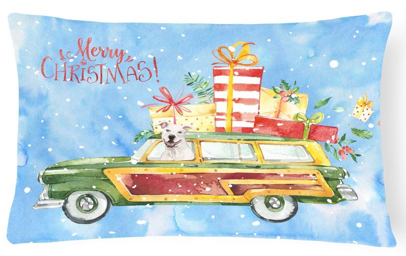 Buy this Merry Christmas White Staffordshire Bull Terrier Canvas Fabric Decorative Pillow CK2433PW1216