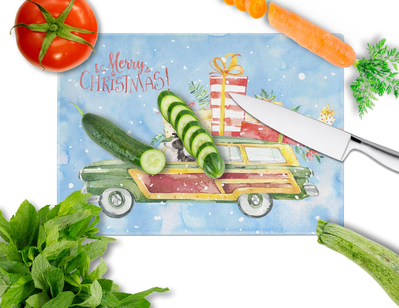Merry Christmas Border Collie Glass Cutting Board Large CK2445LCB by Caroline's Treasures