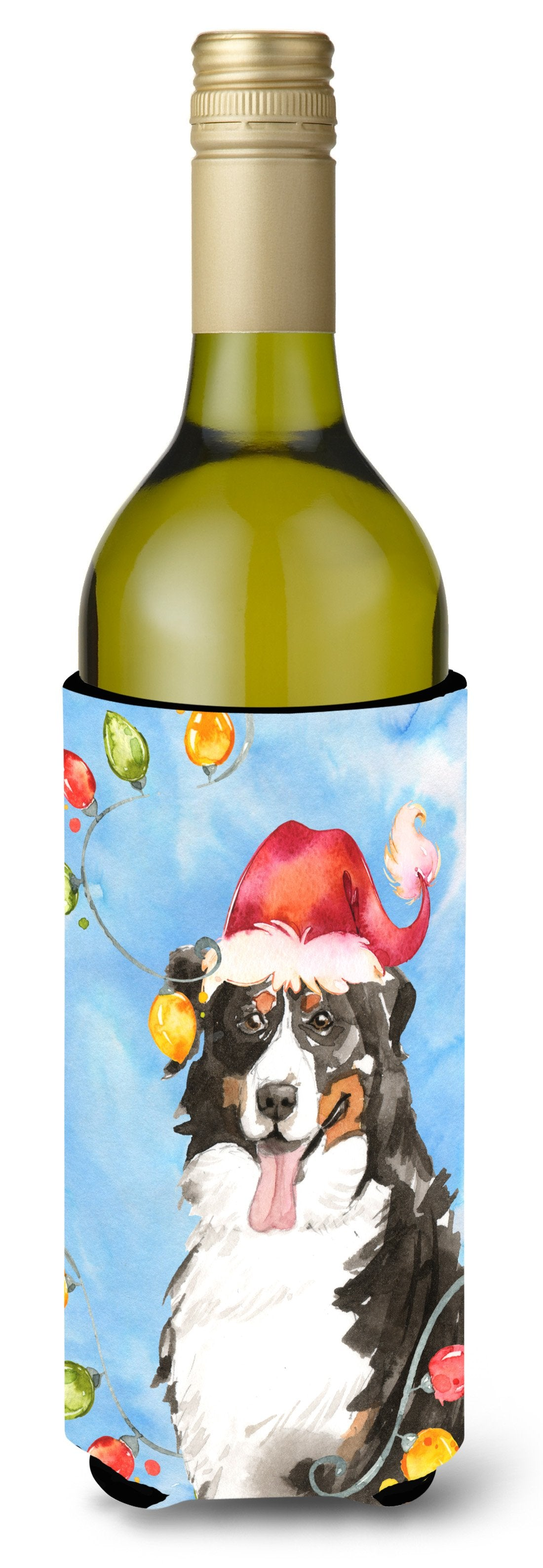 Buy this Christmas Lights Bernese Mountain Dog Wine Bottle Beverage Insulator Hugger CK2469LITERK