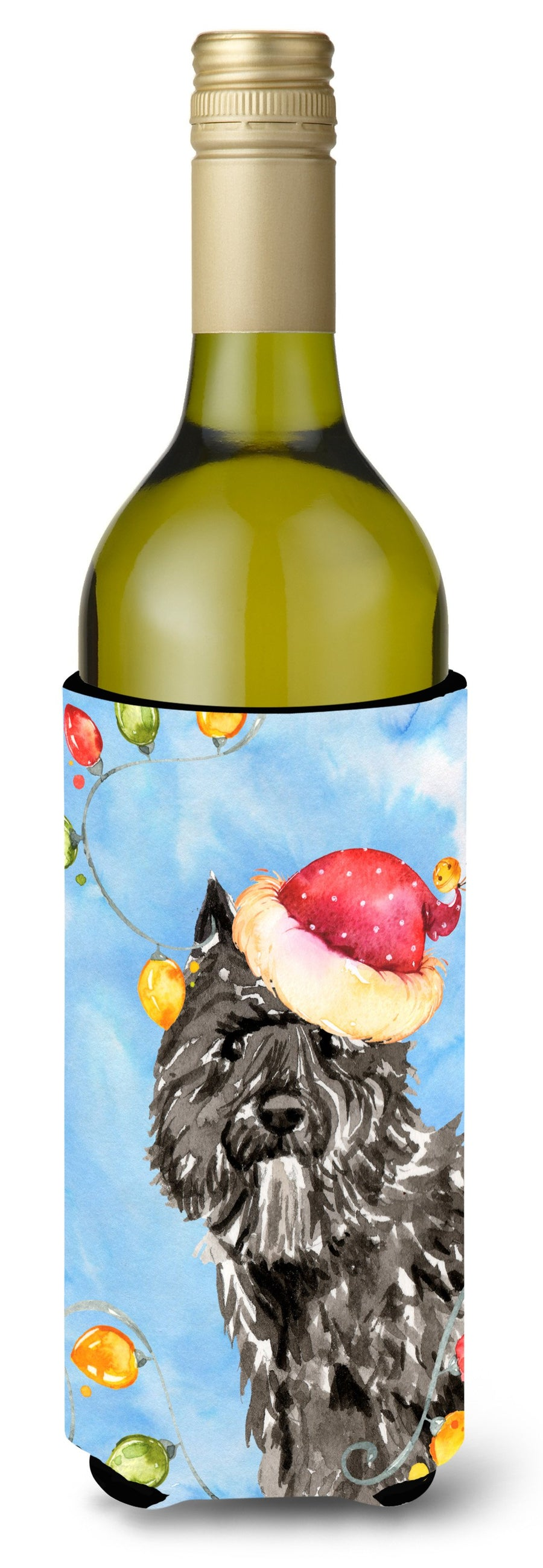 Buy this Christmas Lights Bouvier des Flandres Wine Bottle Beverage Insulator Hugger CK2470LITERK