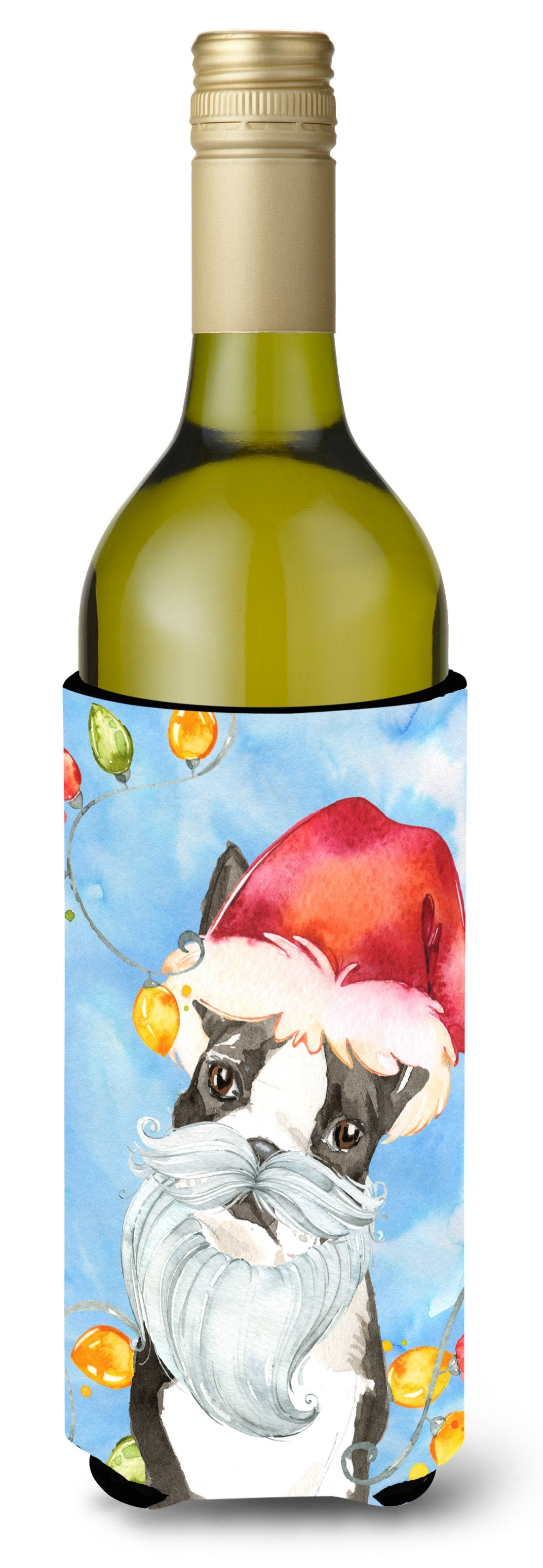 Buy this Christmas Lights Boston Terrier Wine Bottle Beverage Insulator Hugger CK2473LITERK