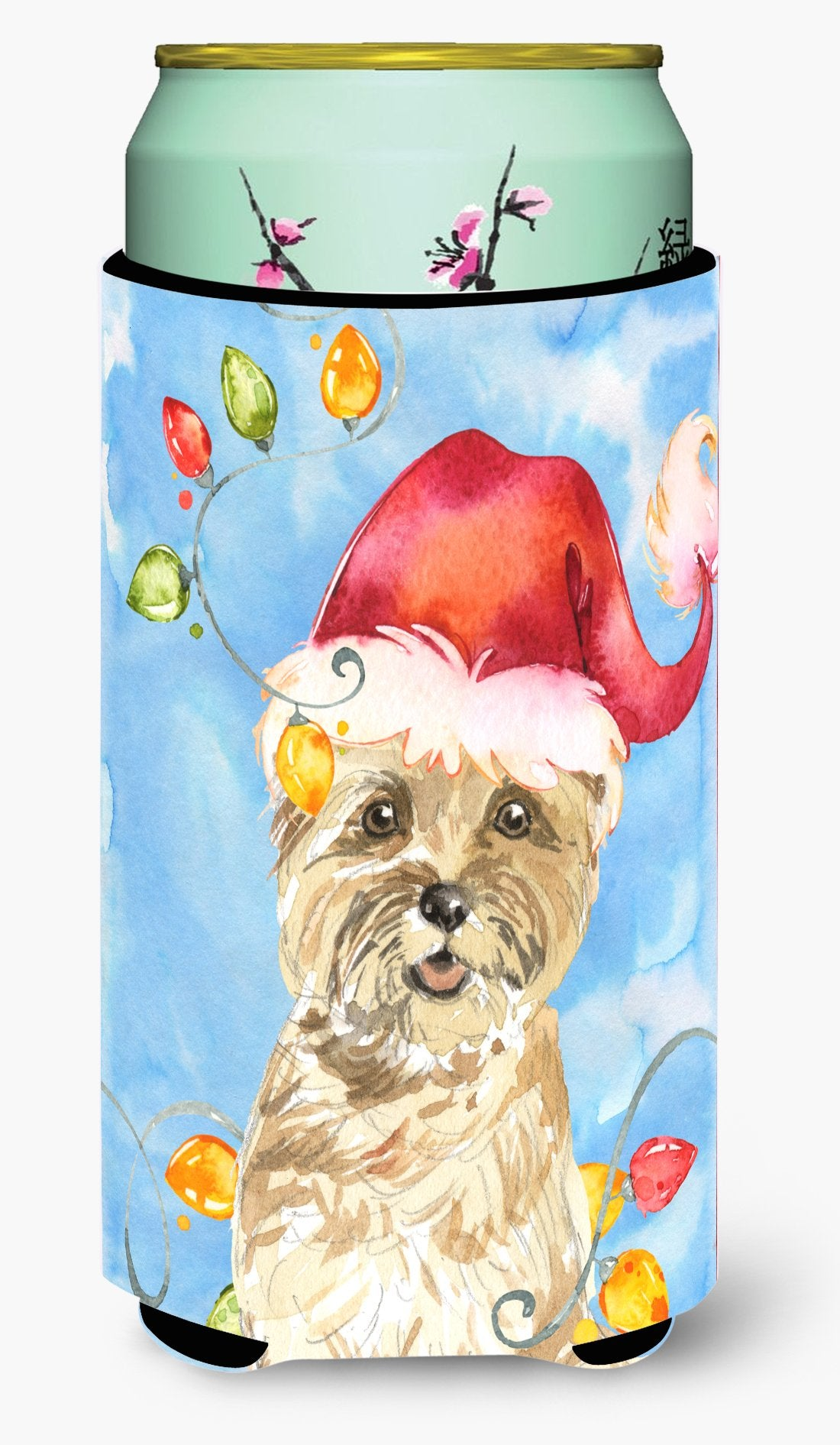 Buy this Christmas Lights Cairn Terrier Tall Boy Beverage Insulator Hugger CK2474TBC