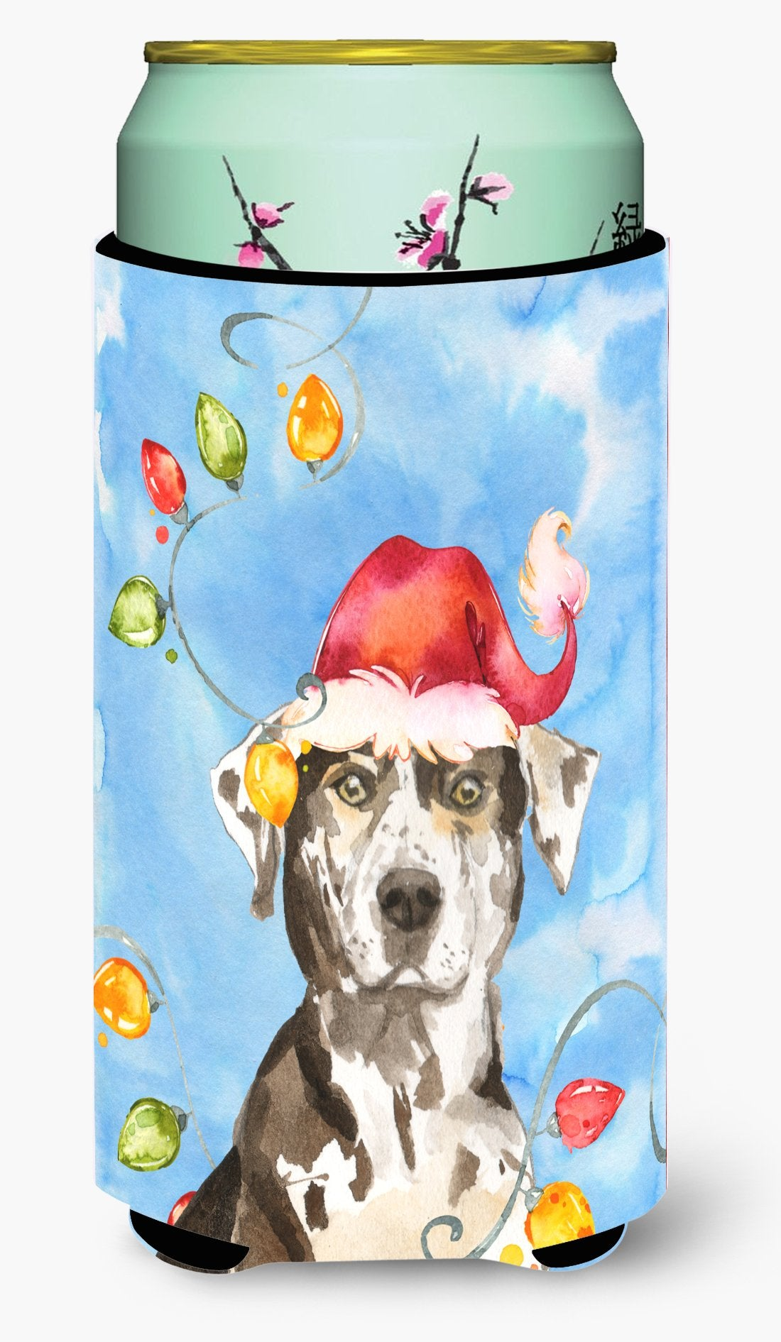 Buy this Christmas Lights Catahoula Leopard Dog Tall Boy Beverage Insulator Hugger CK2475TBC