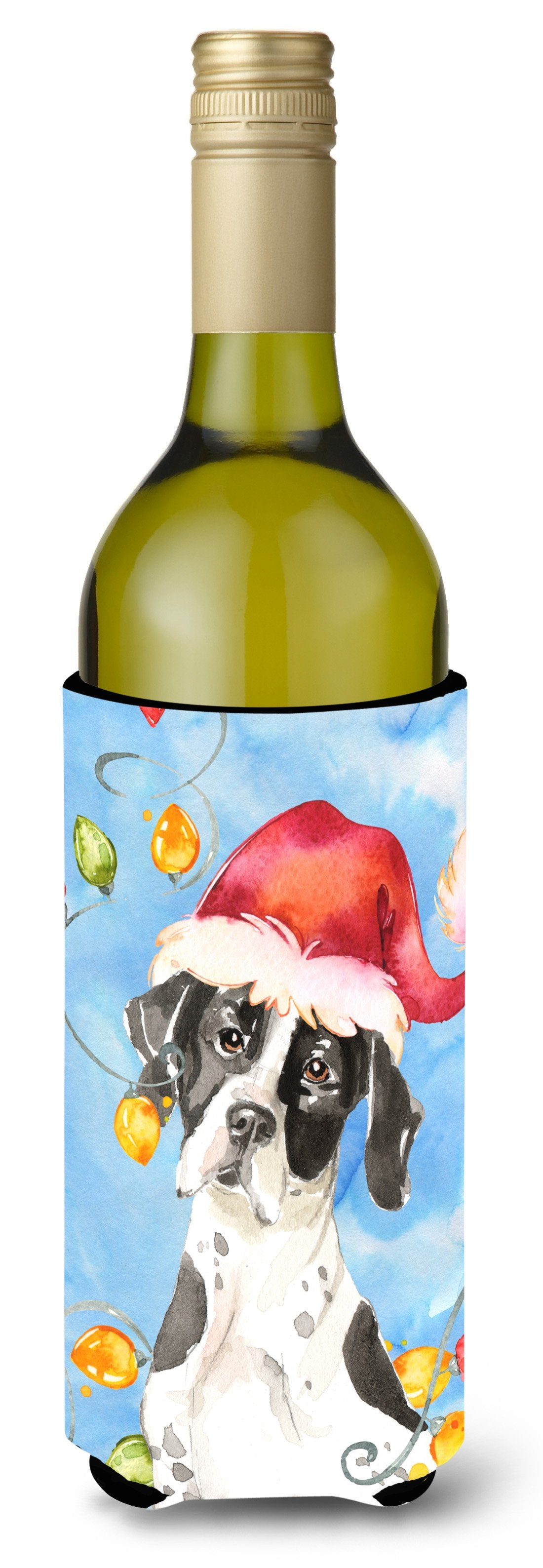 Buy this Christmas Lights English Pointer Wine Bottle Beverage Insulator Hugger CK2477LITERK