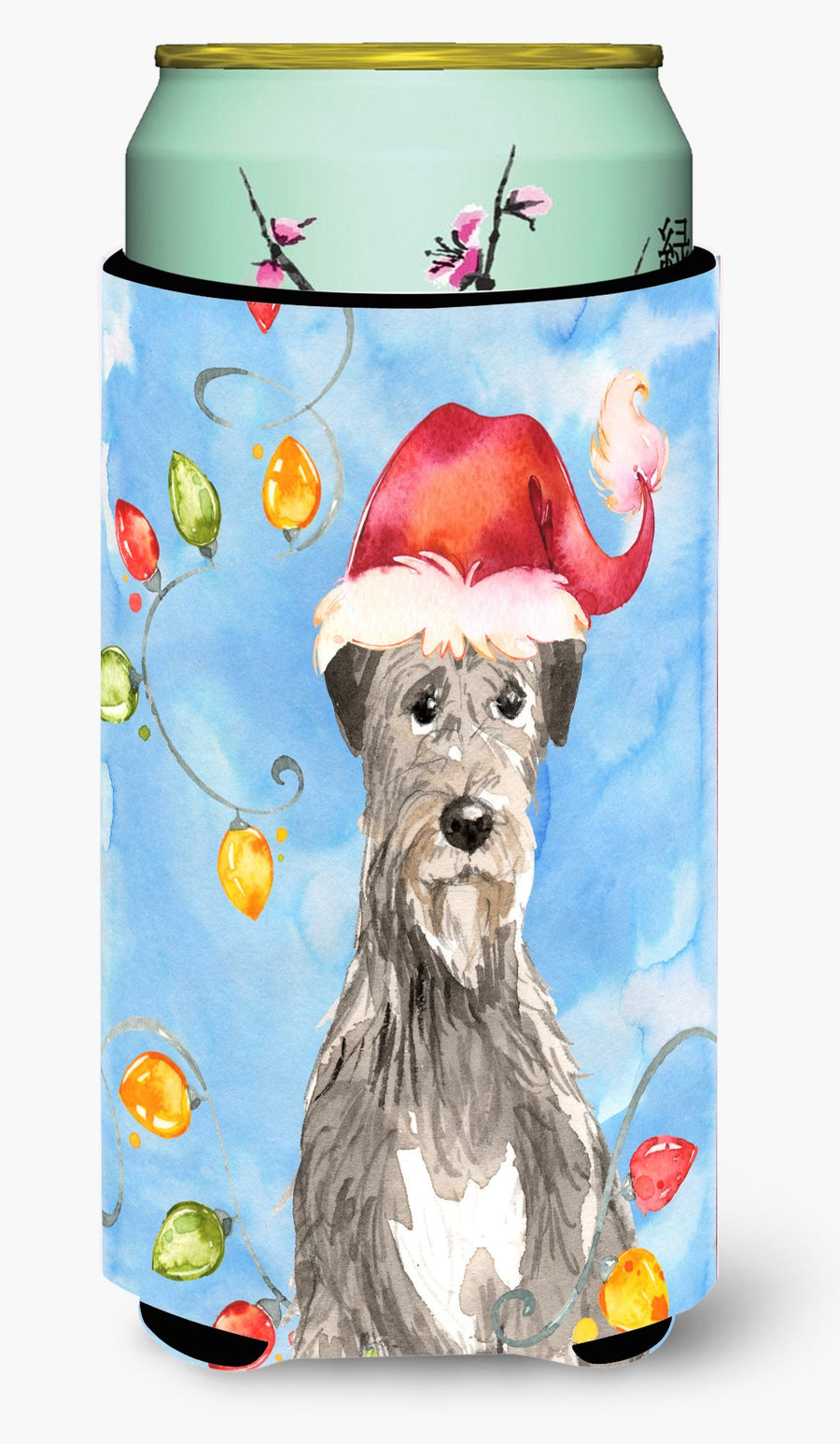Buy this Christmas Lights Irish Wolfhound Tall Boy Beverage Insulator Hugger CK2481TBC