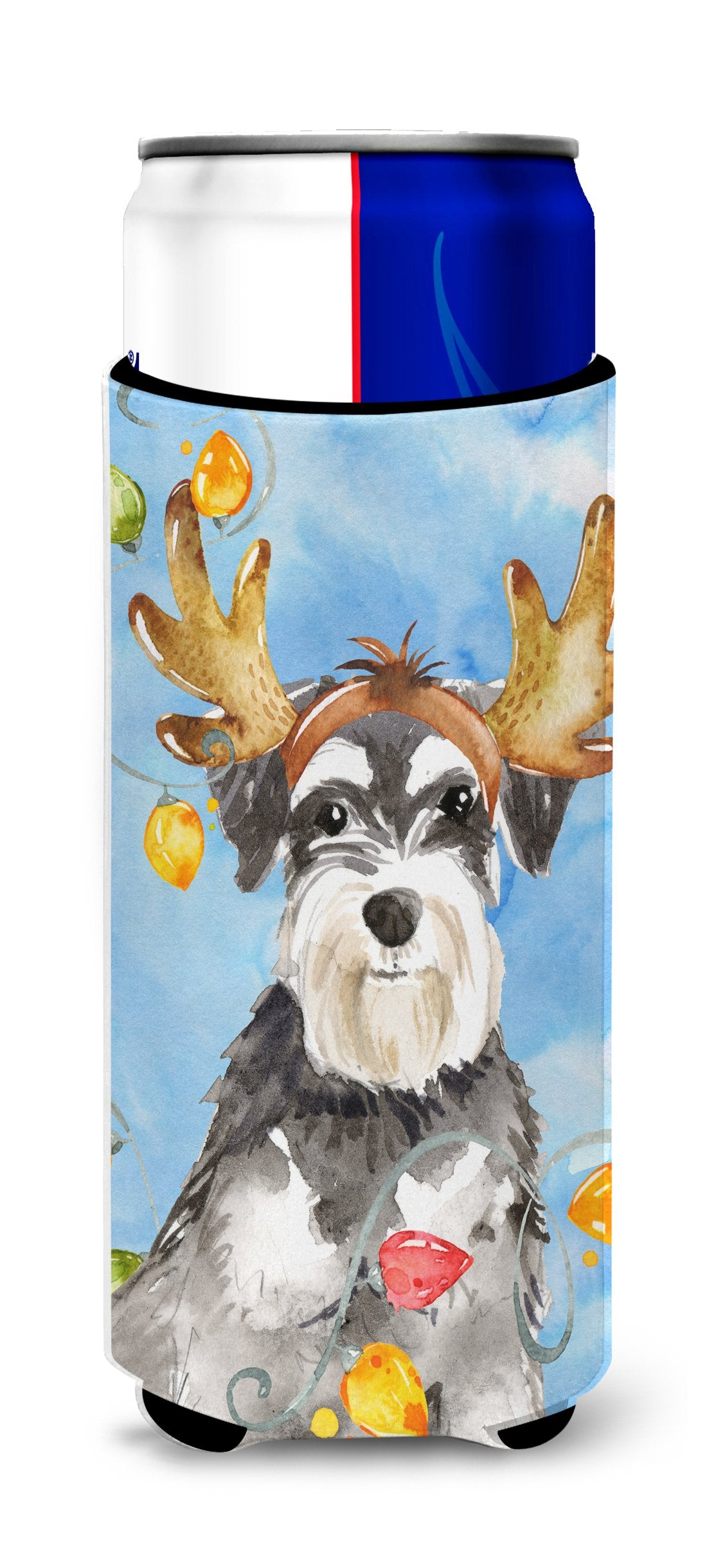 Christmas Lights Schnauzer Michelob Ultra Hugger for slim cans CK2485MUK by Caroline's Treasures